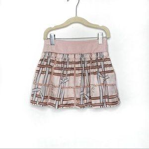 Burberry Girls Plaid Logo Silk Blend Skirt